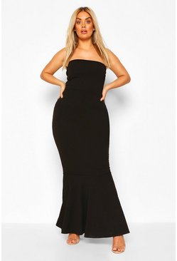 Black Plus Bandeau Fishtail Maxi Dress