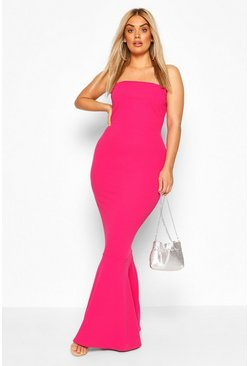 Magenta Plus Bandeau Fishtail Maxi Dress