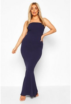 Navy Plus Bandeau Fishtail Maxi Dress