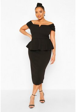 Black Plus Off The Shoulder Peplum Midi Dress