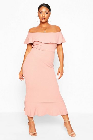 Blush Plus Bardot Frill Midaxi Dress