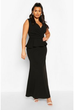 Black Plus Plunge Peplum Maxi Dress