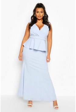 Sky Plus Plunge Peplum Maxi Dress