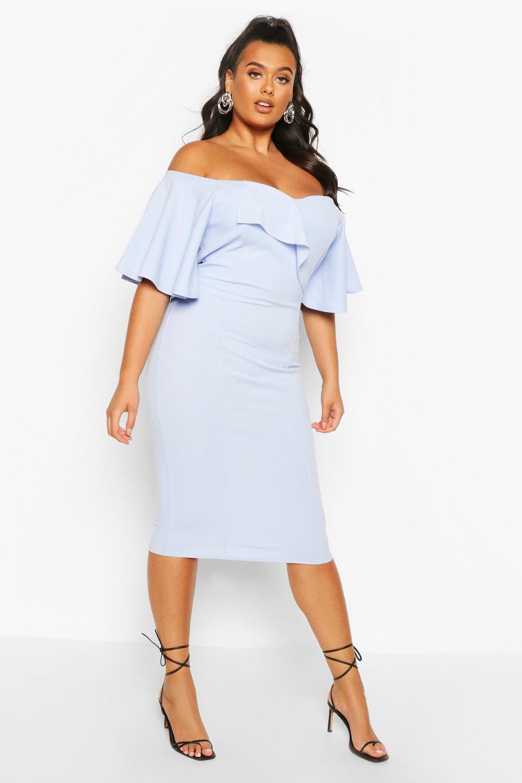 Plus Bardot Cape Sleeve Midi Dress 6