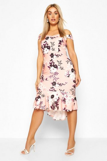 Blush Plus Floral Badot Fishtail Ruffle Midi Dress