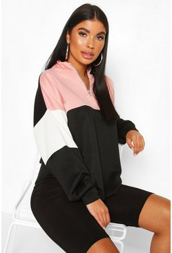 Rose Petite Colour Block Zip Up Sweat Top