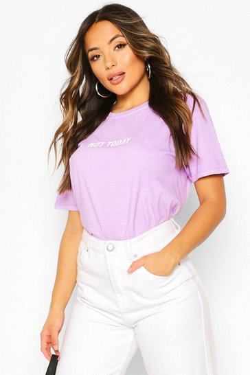 Lilac Petite 'Not Today' Washed Slogan T-Shirt