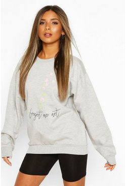Grey marl Petite 'Forget Me Not' Sweat
