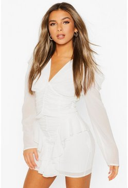White Petite Ruched Frill Chiffon Dress