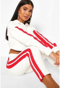 Ivory Petite Side Stripe Crop Hoody & Jogger Tracksuit