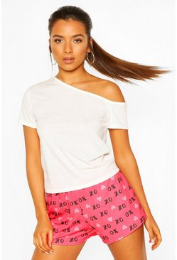 Pink Petite Off Shoulder 'XO' Shorts PJ Set