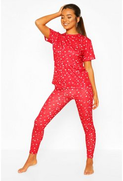 Red Petite Heart Arrow Print Trouser PJ Set