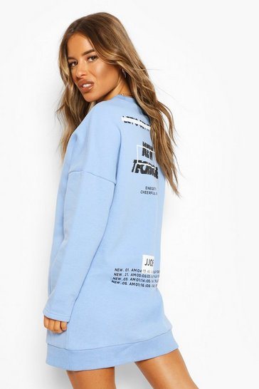 Blue Petite Oversized Back Print Sweatshirt Dress