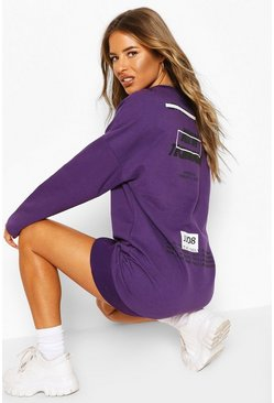 Purple Petite Oversized Back Print Sweat Dress
