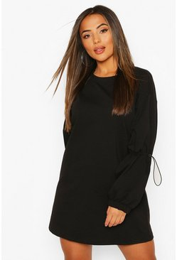 Black Petite Drawcord Detail Sleeve Sweat Dress