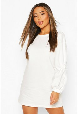 Ivory Petite Drawcord Detail Sleeve Sweat Dress