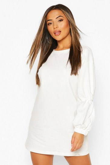 Ivory Petite Drawcord Detail Sleeve Sweatshirt Dress