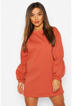 Rust Petite Drawcord Detail Sleeve Sweat Dress
