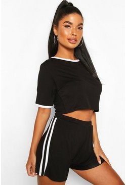 Black Petite Stripe T-Shirt & Short PJ Set