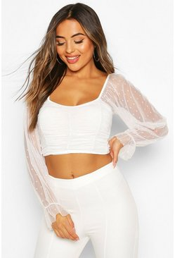 White Petite Dobby Mesh Crop Top