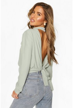 Sage Petite High Neck Backless Top