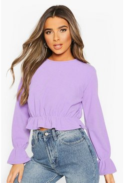 Purple Petite Textured Rib Volume Sleeve Top