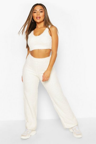 Ivory Petite Fluffy Knit Wide Leg Trouser