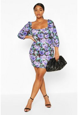 Purple Plus Floral Puff Sleeve Mini Dress