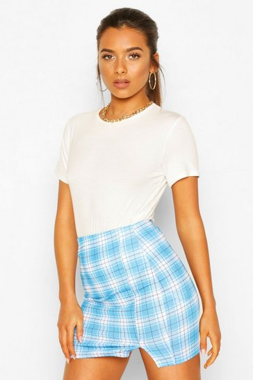 Blue Petite Check Split Hem Mini Skirt