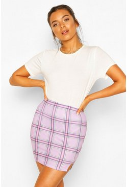 Purple Petite Check Split Hem Mini Skirt