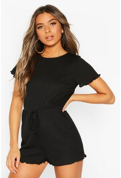 Black Petite Draw Cord Short Sleeve Rib Playsuit