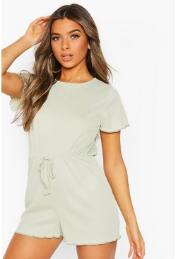 Olive Petite Draw Cord Short Sleeve Rib Playsuit