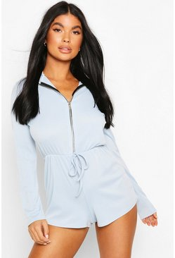 Blue Petite Rib Draw Cord Playsuit