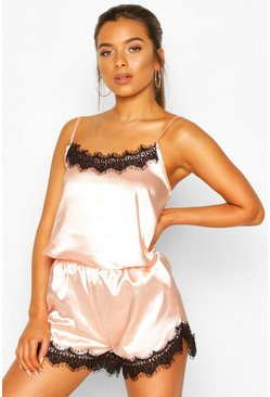Blush Petite Satin Lace Trim Short PJ Set