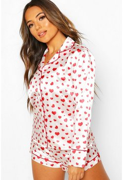 White Petite Satin Heart Print Short PJ Set