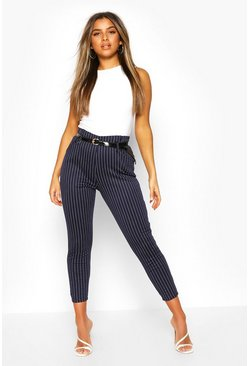 Navy Petite Belted Pin Stripe Trouser