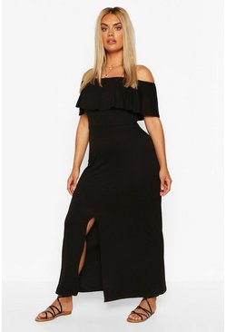 Black Plus Off The Shoulder Ruffle Jersey Maxi Dress