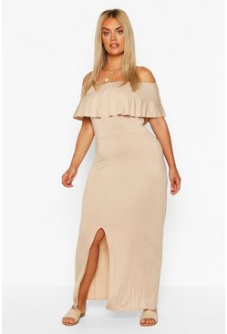Stone Plus Off The Shoulder Ruffle Jersey Maxi Dress