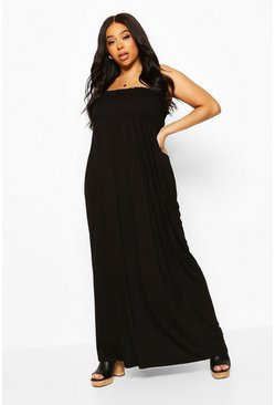 Black Plus Shirred Bandeau Jersey Maxi Dress