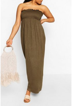 Khaki Plus Shirred Bandeau Jersey Maxi Dress