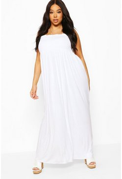 White Plus Shirred Bandeau Jersey Maxi Dress