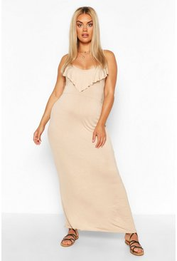 Stone Plus Ruffle Cold Sholder Maxi dress