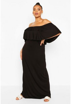 Black Plus Off the Shoulder Ruffle Maxi Dress