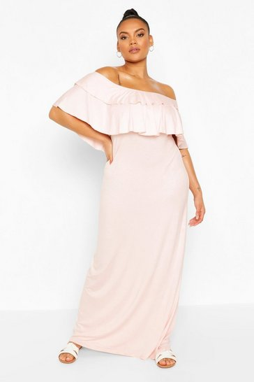 Blush Plus Off the Shoulder Ruffle Maxi Dress