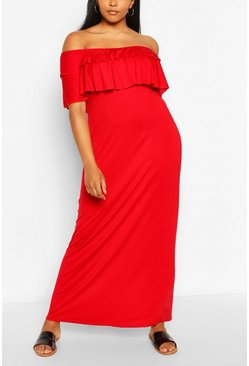 Red Plus Off the Shoulder Ruffle Maxi Dress
