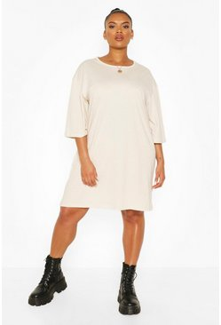 Stone Plus Drop Armhole T-shirt Dress