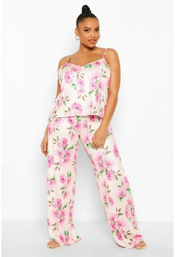 Ivory Plus Floral Cami PJ Set