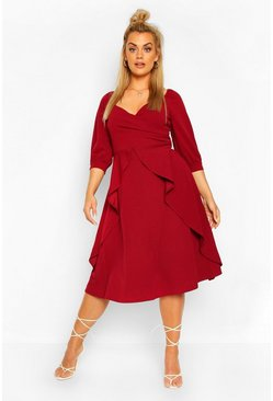Berry Plus Ruffle Detail Wrap Midi Dress