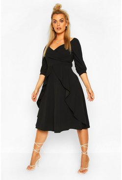 Black Plus Ruffle Detail Wrap Midi Dress