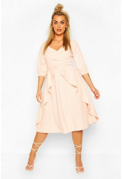 Blush Plus Ruffle Detail Wrap Midi Dress
